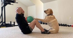 Therapy Dog Is The Best Personal Trainer